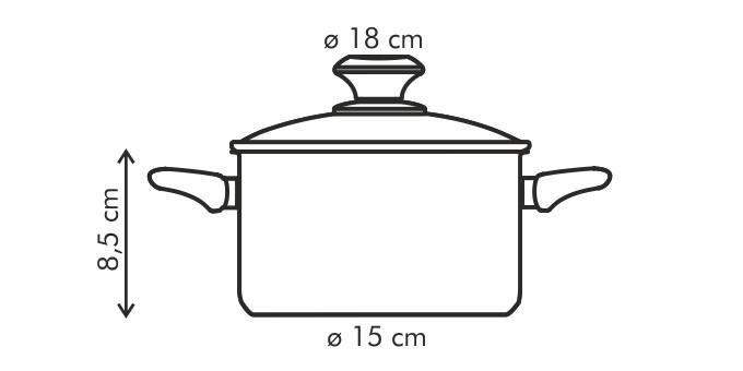 Casseruola PRESTO con coperchio, ø18 cm, 2.0 l, antiaderente