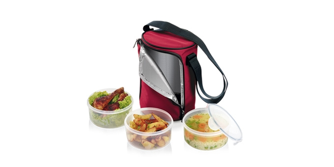 Food container FRESHBOX, with 3 containers of 0.8 l each, bordeaux