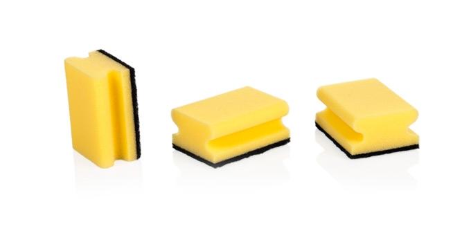 Gąbki kuchenne CLEAN KIT, 3 sztuki, z uchwytem