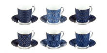 Espresso cup with saucer myCOFFEE, 6 pcs, Art deco
