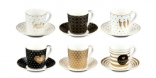 Tazza caffè con piattino myCOFFEE, 6 pz, Good morning