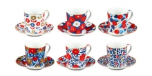 Tazza caffè con piattino myCOFFEE, 6 pz, Flowers
