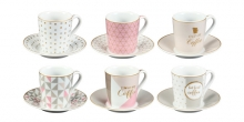 Espresso cup with saucer myCOFFEE, 6 pcs, I love coffee