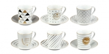 Espresso cup with saucer myCOFFEE, 6 pcs, Happy