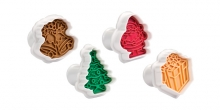 Cookie cutters with stamp DELÍCIA, 4 pcs, Christmas