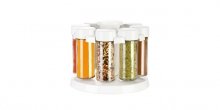 Spice jars in rotating stand SEASON 8 pcs, white