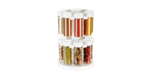 Spice jars in rotating stand SEASON 16 pcs, white