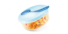 Travel dish PAPU PAPI, with spoon, blue