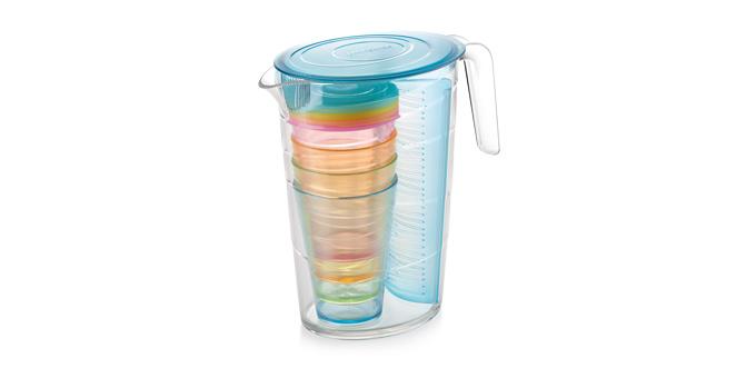 TESCOMA džbán myDRINK 2.5 l, 4 poháry s víčkem, modrá