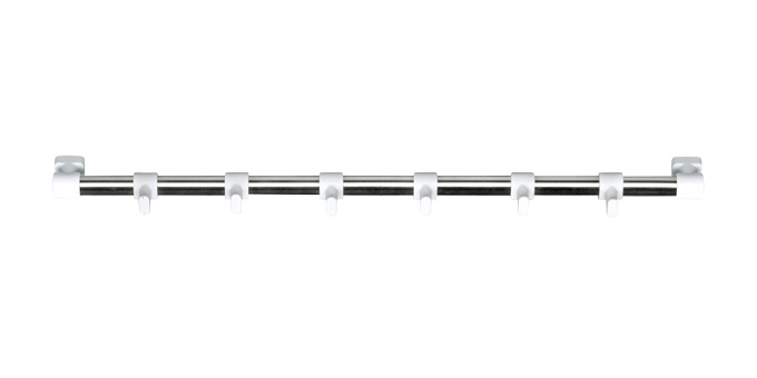 Barra de suspensão PRESTO 40 cm, c/ 6 ganchos brancos