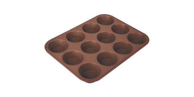 TESCOMA forma 12 muffinů DELÍCIA SILICONE, hnědá