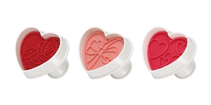 Corta massas com carimbo DELÍCIA, 3 pcs, corações