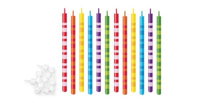 TESCOMA dortové svíčky DELÍCIA KIDS 10 cm, 12 ks, proužky