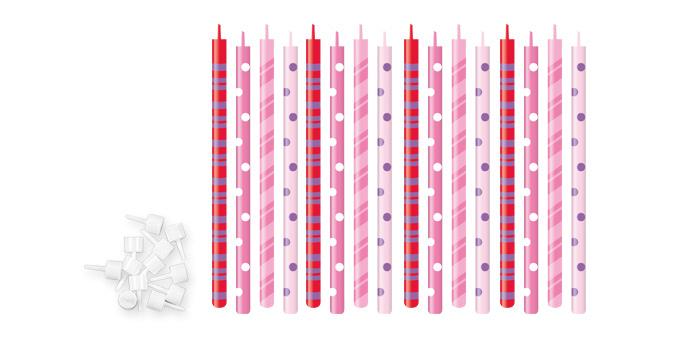 TESCOMA dortové svíčky DELÍCIA KIDS 12 cm, 16 ks, růžová
