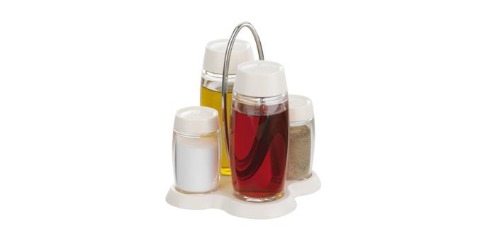 Súprava olej-ocot-soľ-korenie LOUIS, stojan