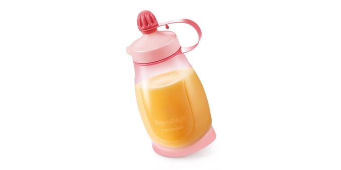 Pružná fľaša PAPU PAPI 200 ml, s lyžičkou, ružová