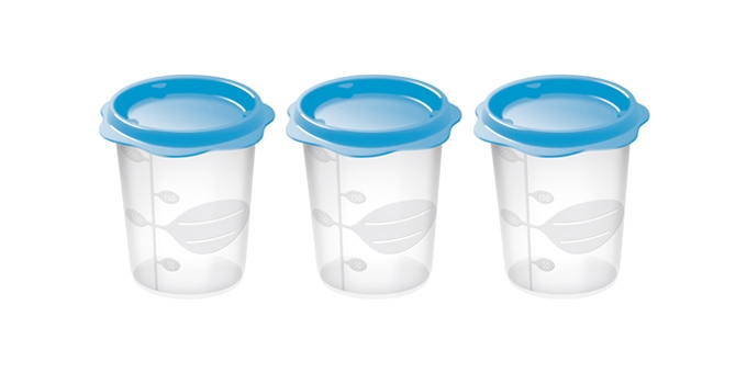 TESCOMA dóza na dětské pokrmy BAMBINI 200 ml, 3 ks, světle modrá