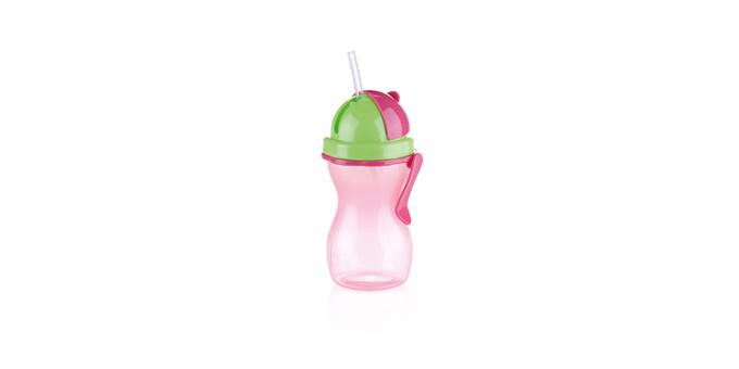 TESCOMA dětská láhev s brčkem BAMBINI 300 ml, zelená, růžová