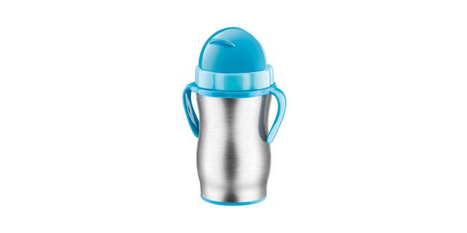 TESCOMA dětská termoska s brčkem BAMBINI 300 ml, nerez, modrá