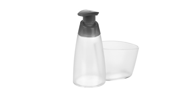 TESCOMA dávkovač saponátu CLEAN KIT 350 ml, s místem pro houbičku, šedá