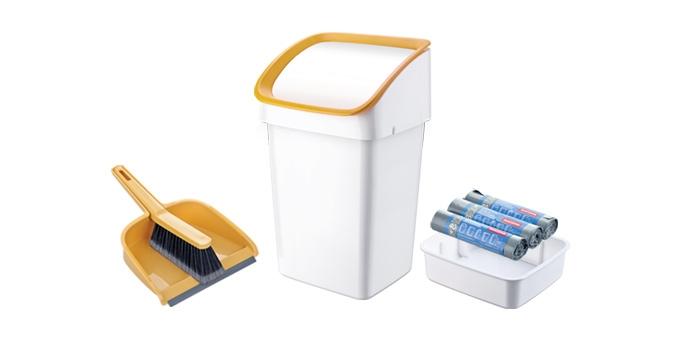 Odpadkový koš CLEAN KIT 21 l, se smetáčkem, lopatkou a sáčky