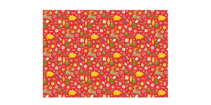 Vánoční balicí papír 70 x 100 cm, 6 ks, červený