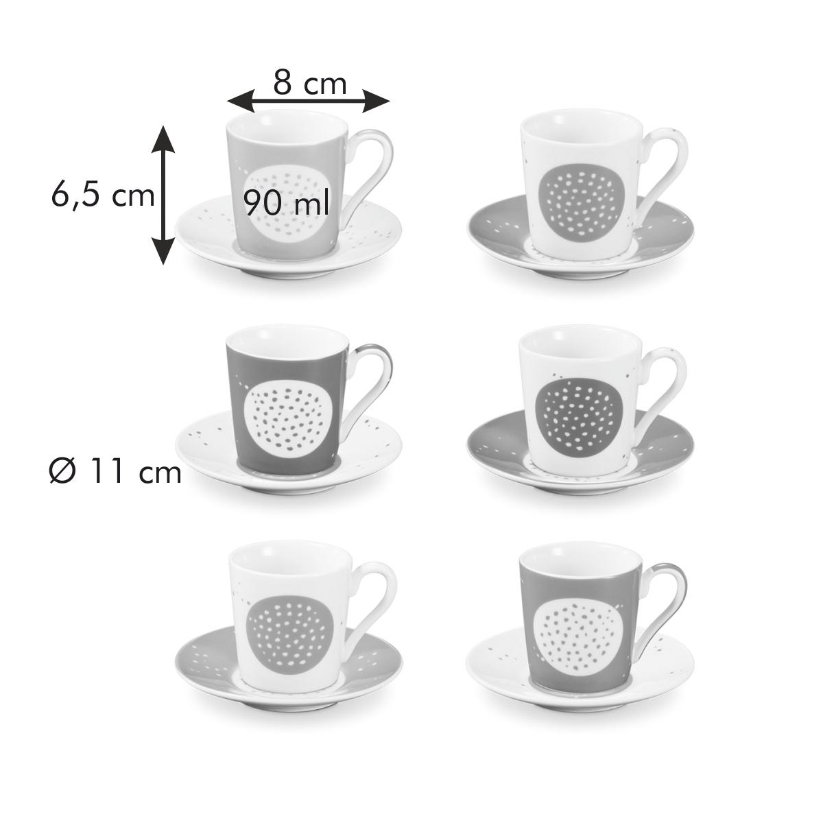 Šálek na espresso s podšálkem myCOFFEE, 6 ks, Sugar
