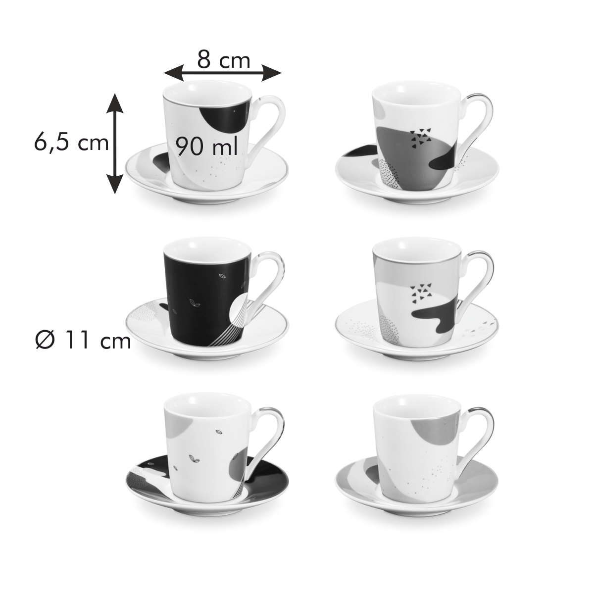 Šálek na espresso s podšálkem myCOFFEE, 6 ks, Moon