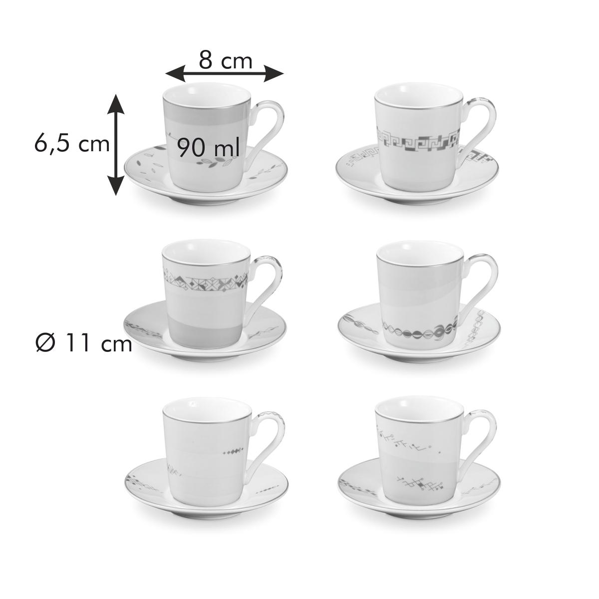Šálek na espresso s podšálkem myCOFFEE, 6 ks, Romance