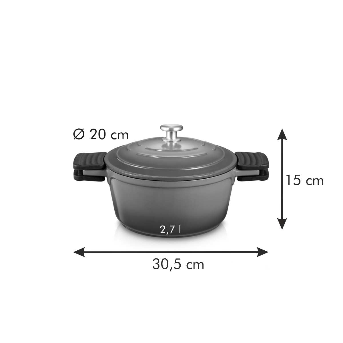 Kastrol s poklicí BORDEAUX ø 20 cm, 2,7 l