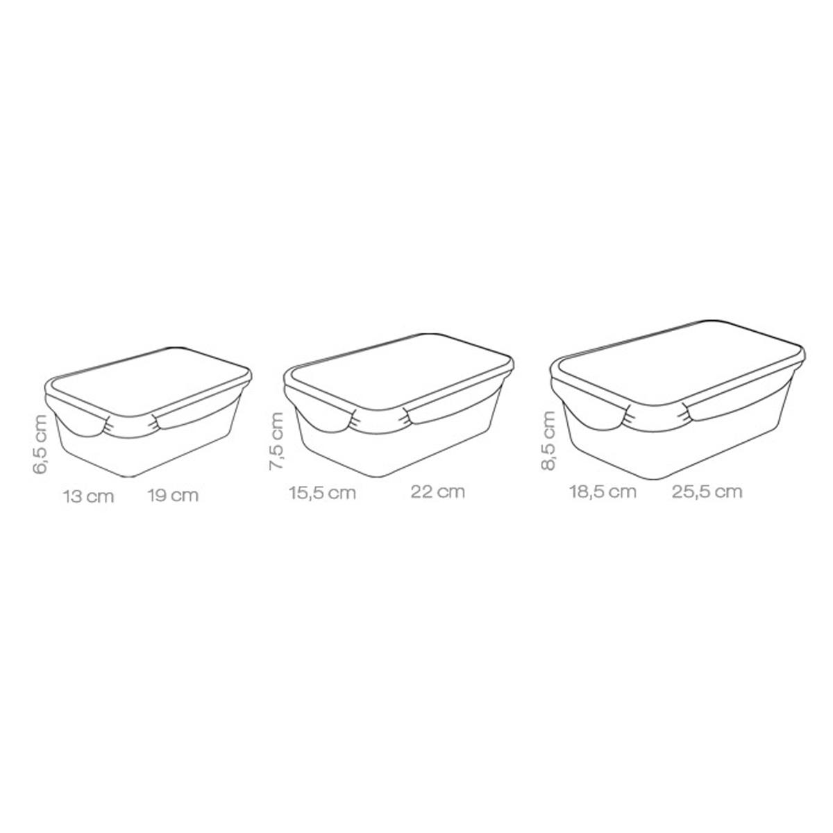 Dóza FRESHBOX 3ks, 1.0, 1.5 ,2.5 l, obdélníková