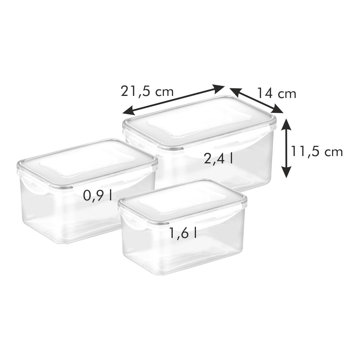 Dóza FRESHBOX 3 ks, 0,9, 1,6, 2,4 l, hluboká