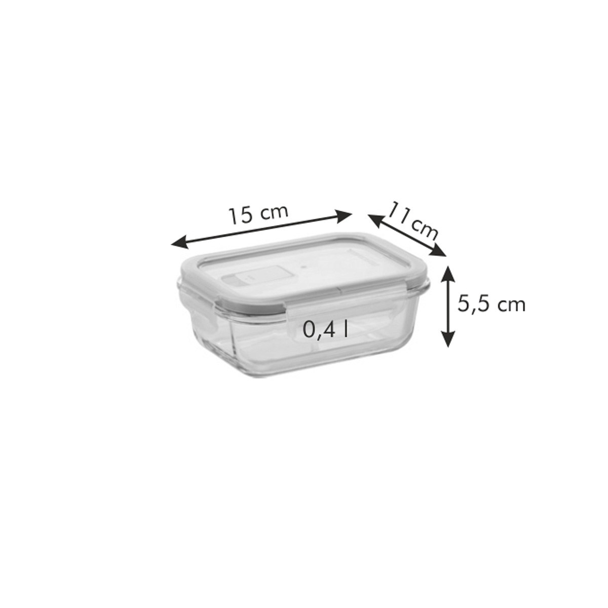 Dóza FRESHBOX GLASS 0.4 l, obdélníková