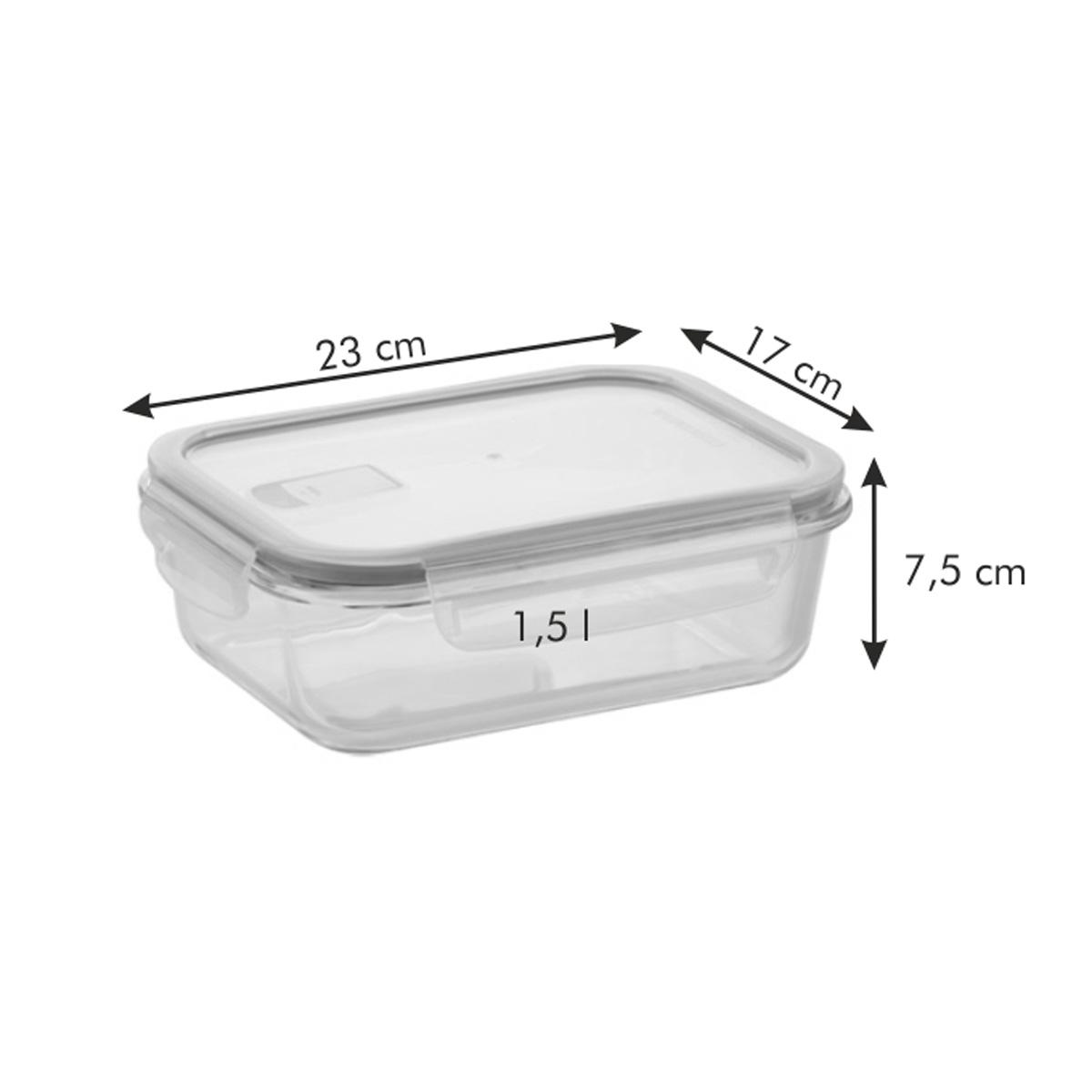 Dóza FRESHBOX GLASS 1.5 l, obdélníková