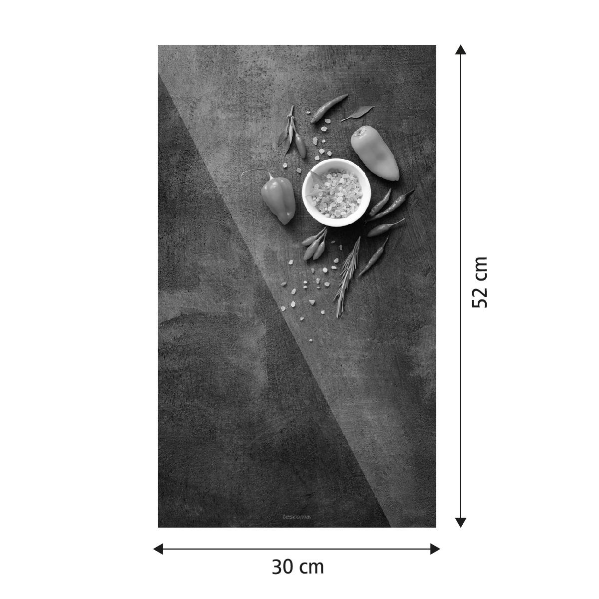 Skleněná odkládací deska na sporák ONLINE 30 x 52 cm, sůl a chilli