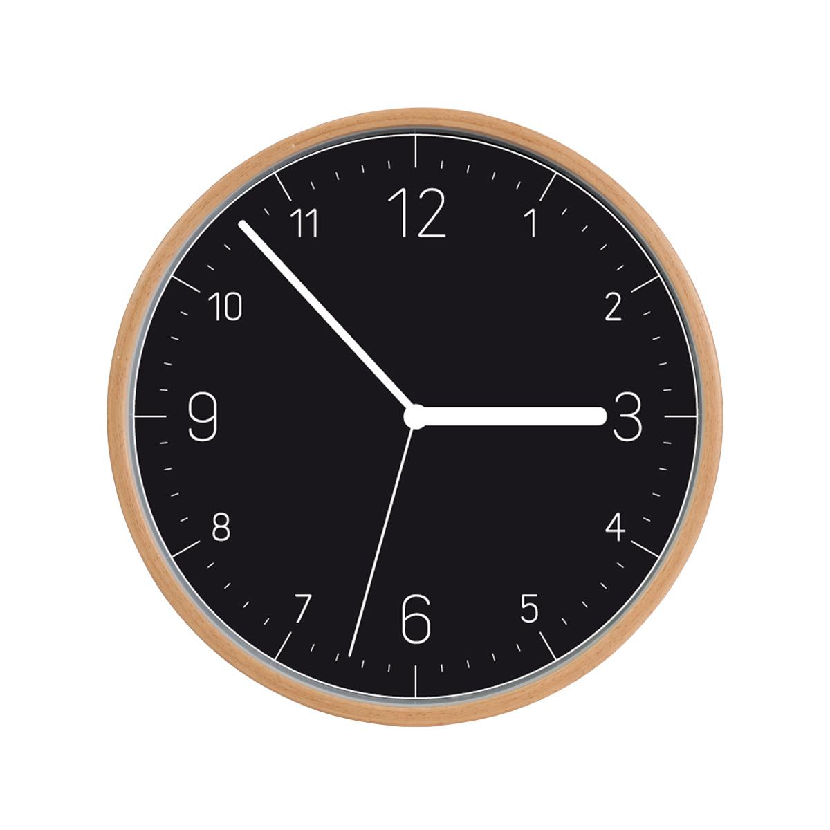 Nástěnné hodiny FANCY HOME, dřevo, černý ciferník