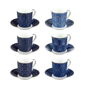 Tazza caffè con piattino myCOFFEE, 6 pz, Art deco