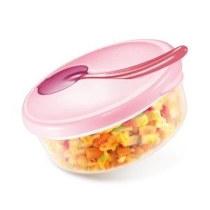 Travel dish PAPU PAPI, with spoon, pink