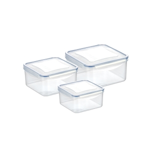 Container FRESHBOX 3 pcs, 0.4, 0.7, 1.2 l, square