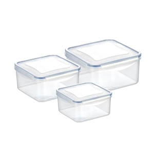 Container FRESHBOX 3 pcs, 1.2, 2.0, 3.0 l, square