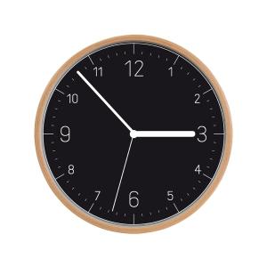 Relógio de parede FANCY HOME, madeira, preto