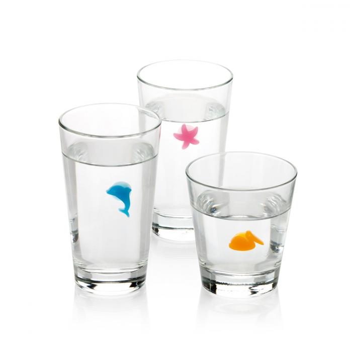 Značky na sklenice myDRINK, 12 ks, ocean