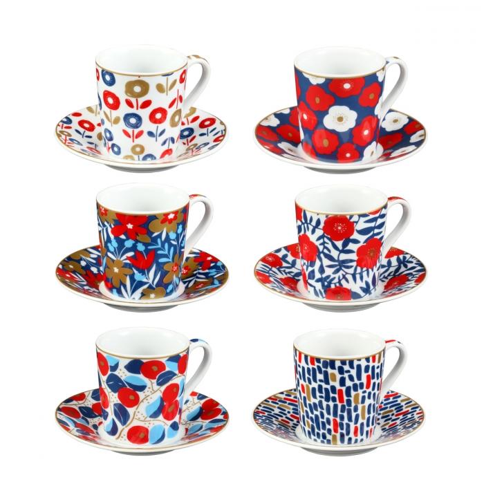 myCOFFEE eszpresszós csésze tányérkával, 6 db, Flowers