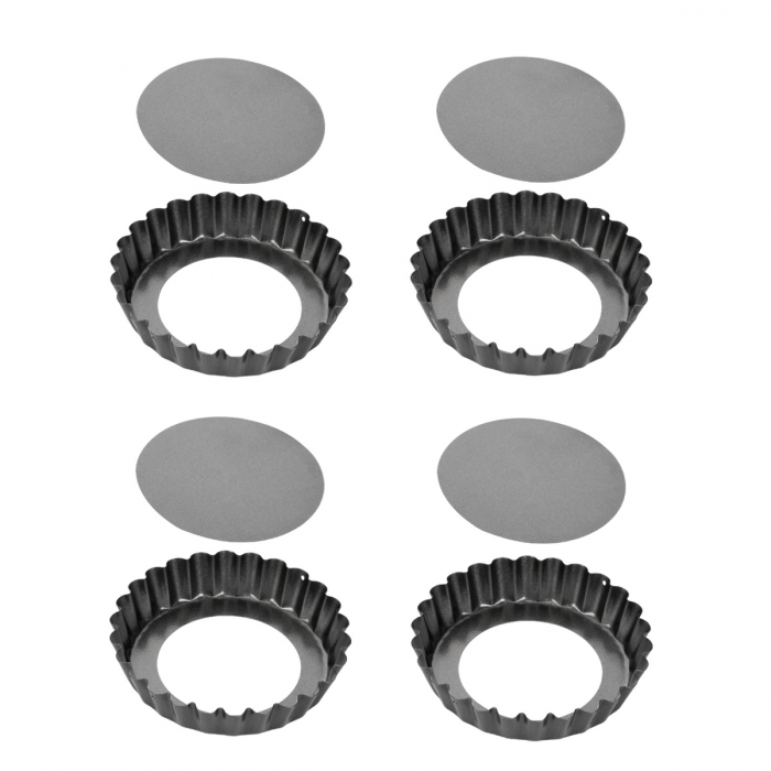 Forma de tarte ondulada desmontável DELÍCIA ø 10 cm, 4 pcs