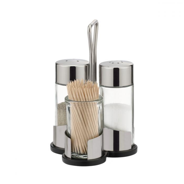 CLUB só-, bors- és fogvájótartó készlet