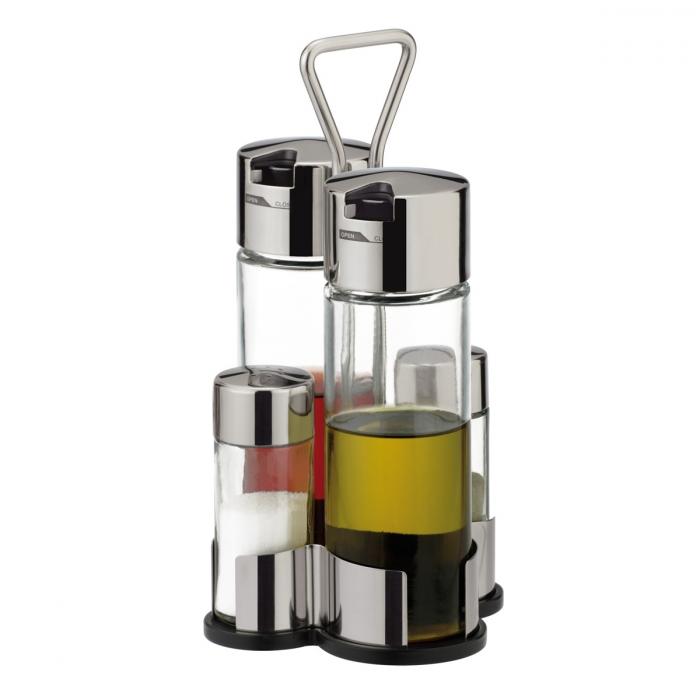 CLUB olaj-, ecet-, só- és borstartó készlet
