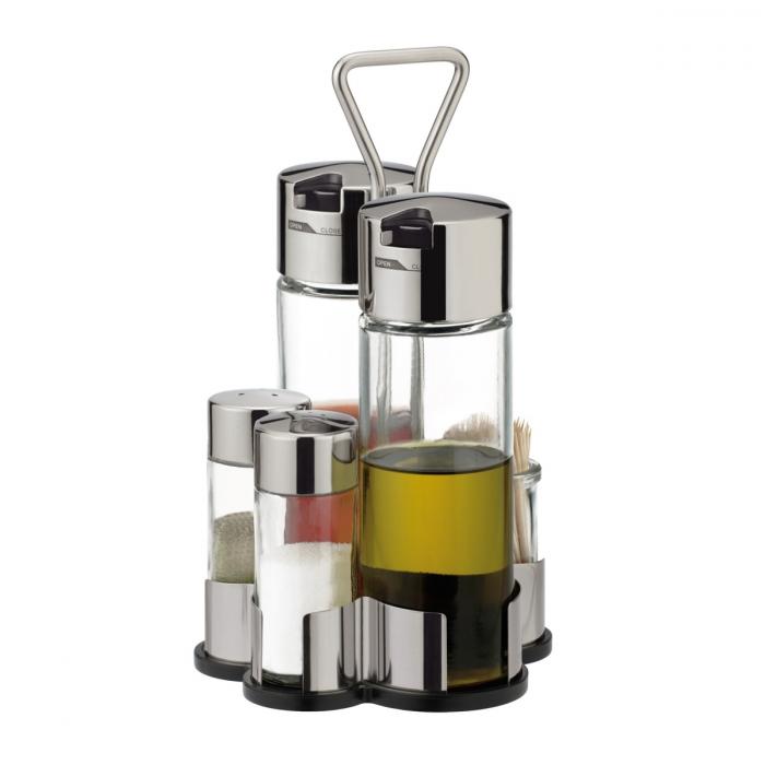 CLUB olaj-, ecet-, só-, bors- és fogvájótartó készlet