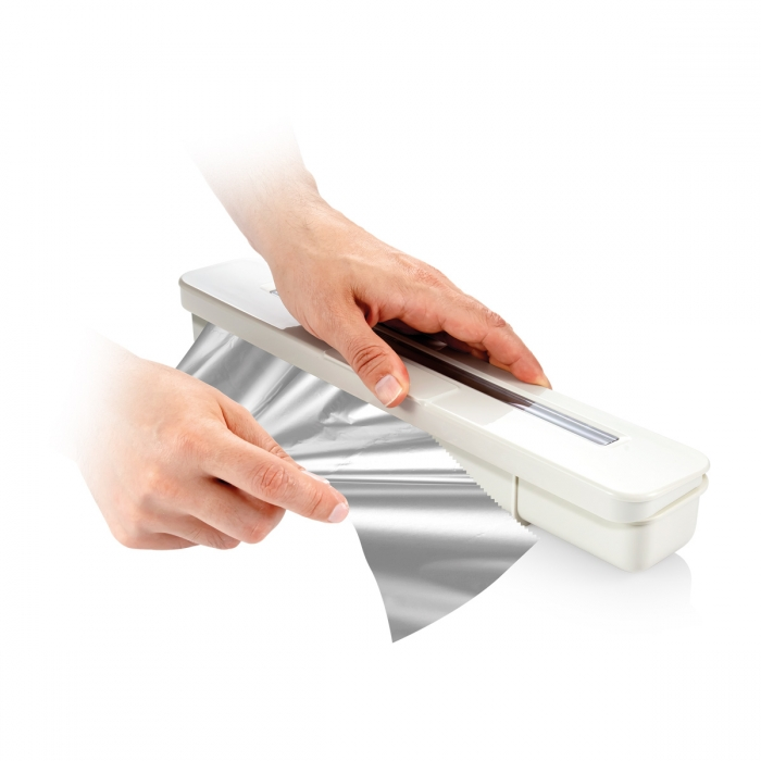Tescoma 899478 FlexiSPACE Dispenser per Pellicola Trasparente e Alluminio Bianco