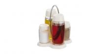 Komplet olej- ocet- sół- pieprz LOUIS, stojak